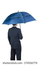 Businessman and umbrella on white background