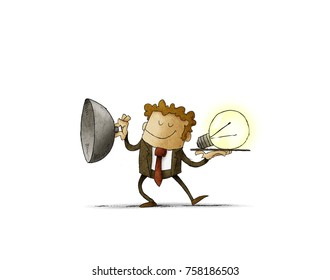 businessman uncover tray where a light bulb appears as a concept of creativity. isolated, white background.