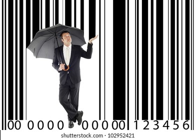 businessman under one umbrella, in between a large bar-code, metaphor boss, manager, consumerism ...
