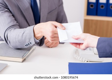 Businessman in unethical business concept with bribe