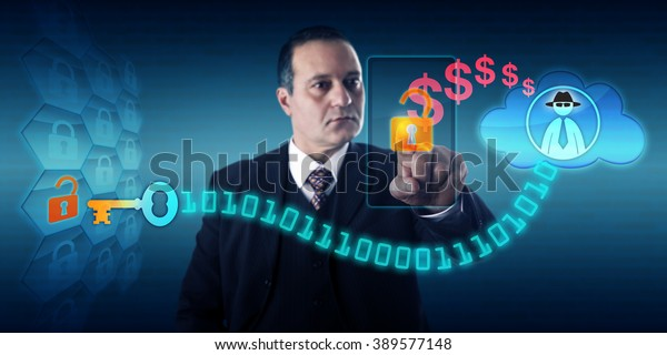 Businessman is unlocking a virtual lock via touch on his mobile to send ransom payment to a black hat hacker in the cloud, thus obtaining a decryption key. Security concept for encrypting ransomware.