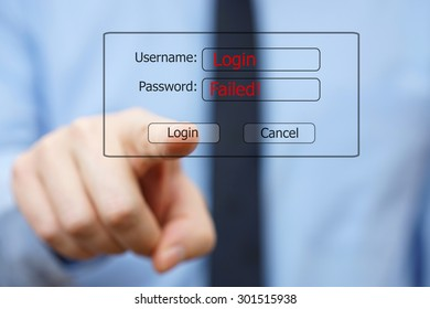 businessman unsuccessfully tries to log into the system