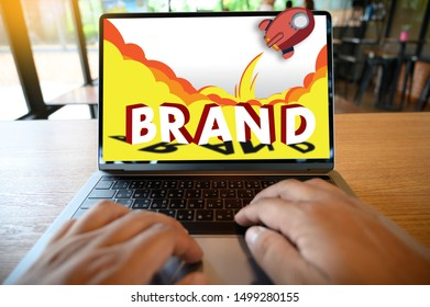 Businessman use  computer YOU ARE YOUR OWN BRAND Brand Building concept