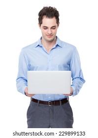 Businessman use of laptop