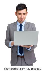Businessman use laptop computer