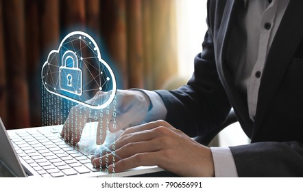 Businessman use Laptop with interface of padlock and cloud computing technology, Cyber Security Data Protection Business Technology Privacy concept.