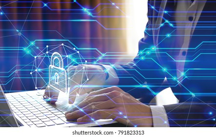 Businessman use Laptop with interface of padlock and global network technology, Cyber Security Data Protection Business Technology Privacy concept, Internet Concept of global business.
