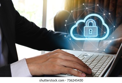 Businessman use Laptop with padlock and cloud technology background, Cyber Security Data Protection Business Technology Privacy concept, Internet Concept of global business.