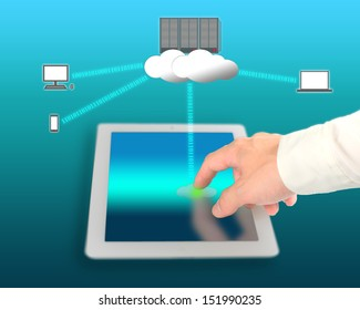 businessman use network device for connecting to cloud computing service
