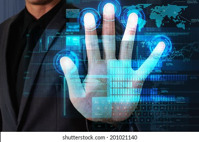 businessman use palm touching blue glow technology screen