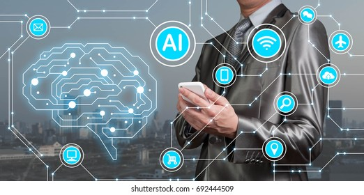 Businessman use smartphone with AI icons together with technology icons, Artificial intelligent conceptual