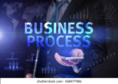 Businessman Use Smartphone And Selecting Business Process, Touch Screen. Virtual Icon. Graphs Interface. Business concept. Internet concept. Digital Interfaces