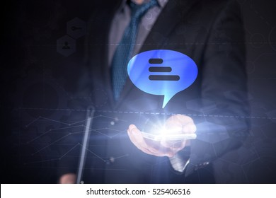 Businessman Use Smartphone And Selecting Testimonials, Touch Screen. Virtual Icon. Graphs Interface. Business concept. Internet concept. Digital Interfaces