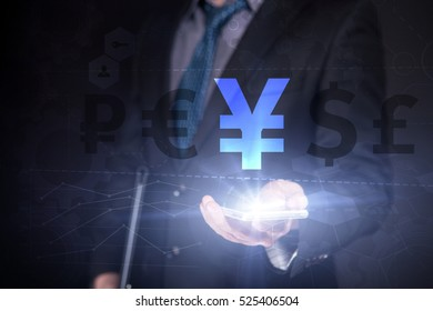 Businessman Use Smartphone And Selecting Yena, Touch Screen. Virtual Icon. Graphs Interface. Business concept. Internet concept. Digital Interfaces