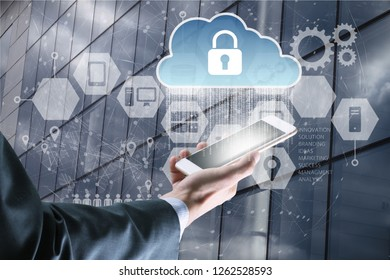 Businessman use smartphone with virtual screen padlock and Interface Icons over the Network connection of World map on technology background.