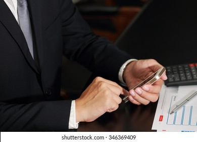 Businessman use smartphone to work in the meeting room as business concept.