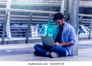 Businessman used 5G High speed internet network communication with his laptop for connected in business worldwide connection. Internet of Things