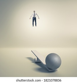 businessman uses a catapult to fly upwards. aspiration and success concept.