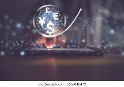 businessman uses Smartphone computer, world currencies, wallet cryptocurrency on virtual screen, fintech financial technology, internet payment, money exchange, digital banking concept - Shutterstock ID 1553410472