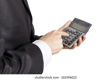 Businessman using calculator side view on isolated white background included clipping path