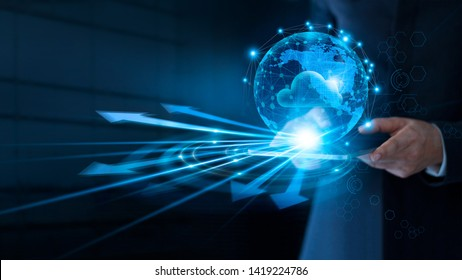 Businessman using cloud computing connect at big data on global network connection, Cloud service and networking data storage technology service on dark blue background.