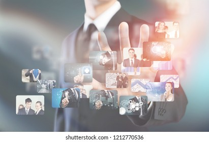 Businessman using  communicating with his team across the world. International communications concept