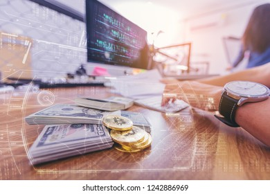 Businessman using computer for make bitcoin money. Digital currency concept