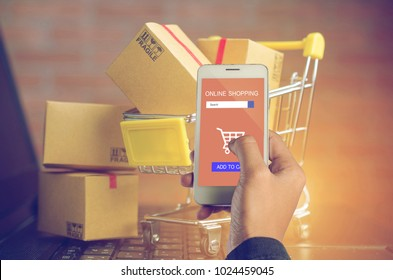 Businessman using customer shop online by using online shopping app.