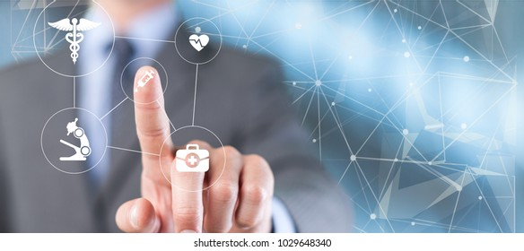 Businessman using digital medical infographic