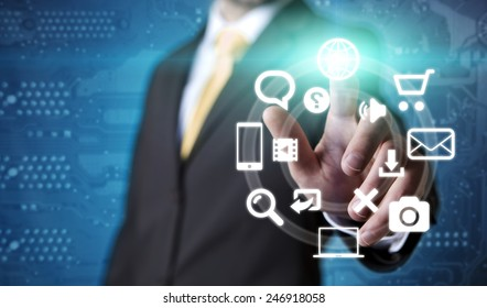 Businessman using digital screen interface to communicate