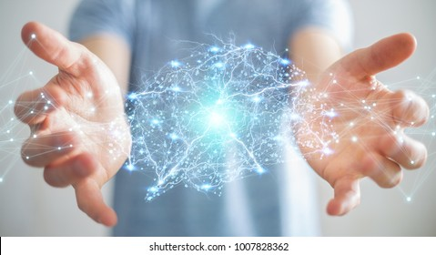 Businessman using digital x-ray human brain interface with cell and neurons activity 3D rendering