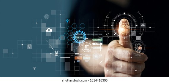 Businessman using fingerprint indentification to access personal financial data. for E-kyc (electronic know your customer), biometrics security, innovation technology against digital cyber crime