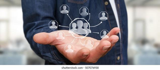 Businessman using hand drawn social network interface