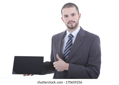 Businessman using his tablet isolated