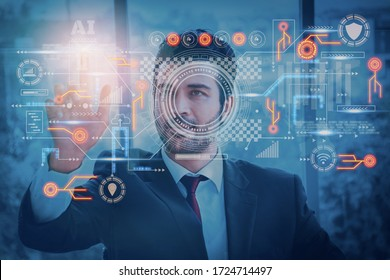 Businessman using interface screen display to analyze and process operations using artificial intelligence or AI system,concept futuristic innovation and technology,internet of Things or iot,big data