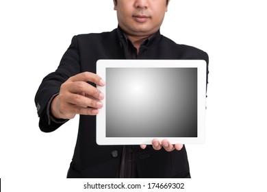 businessman using ipad white background
