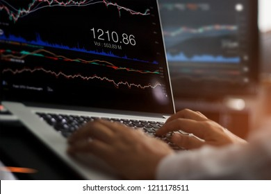 Businessman using laptop for analyzing data stock market in monitoring room, forex trading graph, stock exchange trading online, financial investment concept. All on laptop screen are design up.