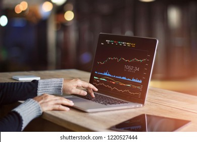 Businessman using laptop for analyzing data stock market, forex trading graph, stock exchange trading online, financial investment concept. All on laptop screen are designed up.