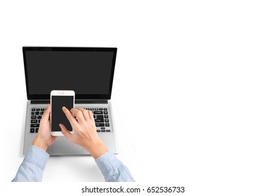 Businessman using a laptop for architectural projec