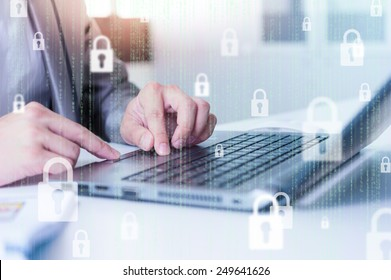 Businessman using laptop logging in on line, business technology concept