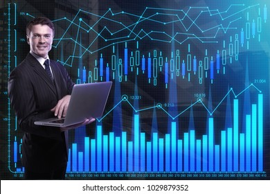 Businessman using laptop on abstract business chart background. Finance and technology concept. Double exposure