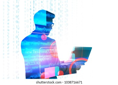 Businessman using laptop on abstract background with HTML code. Computing and programming concept. Double exposure
