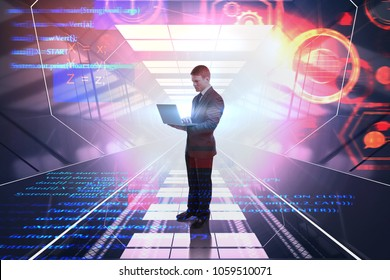 Businessman using laptop on abstract digital background. Coding and computing concept. Double exposure