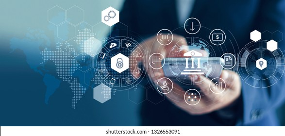 Businessman using mobile online banking and payment, Digital marketing. Finance and banking networking. Online shopping and icon customer network connection, cyber security. Business technology.