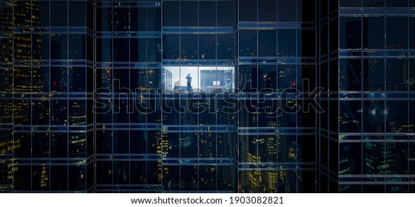 Businessman using mobile phone to talk business in office. View from the outside 3D rendering commercial skyscraper.