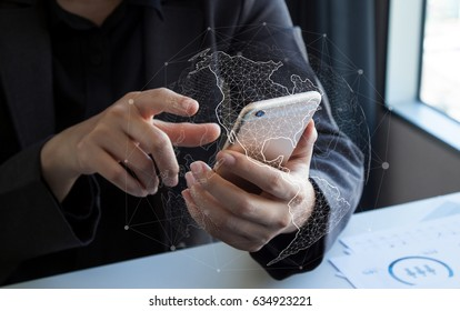Businessman using mobile smart phone with global digital network innovative technologies and data exchanges over the world 3D rendering.