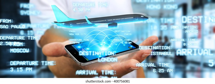 Businessman using modern mobile phone to book a flight
