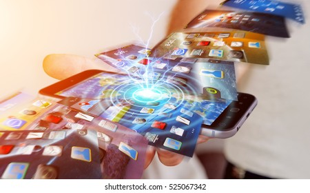 Businessman using modern mobile phone to switch interface background 3D rendering