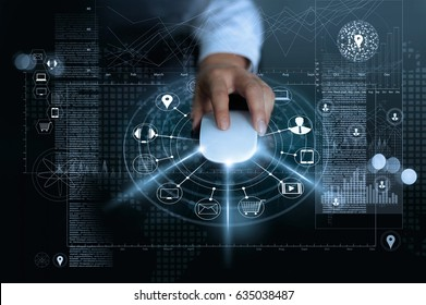 Businessman using mouse payments online shopping and icon customer network connection on global information background, m-banking and omni channel, multichannel