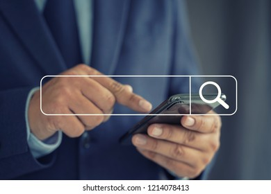 Businessman using Searching Browsing Internet internet of things (IoT)